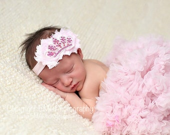 Jasmin- Pink princess headband, Pink Headband, pink newborn Headband, Princess Headband, newborn photo prop, princess birthday headband