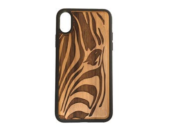 Zebra iPhone Case Cover for iPhone X by iMakeTheCase Bamboo Cover+TPU Wrapped Edges African Animal Print Stripe Pattern Equine Spirit Animal