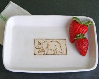 bear in hat - ceramic dish - handmade serving dish
