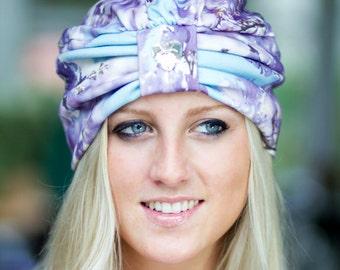 Turban Hat - Women's Organic Cotton Headwrap - Jacaranda Floral Print Hair Wrap in Lavender and Aqua - Wearable Art