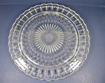 Vintage DEPRESSION Glass CAKE STAND Federal Bubbles & Sunflower Pattern Scallop Rim Flower Footed Pastry Plate