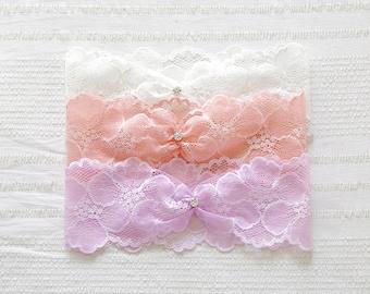 Custom lace wedding garter, bridal garter, wedding garter, navy blue garter, teal garter - style #521