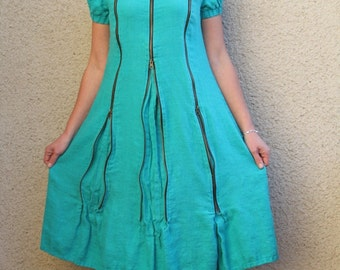 Eco friendly turquoise linen dress with three zippers