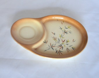 Vintage Ceramic Snack Tray with Bamboo Design, Cream and Tan