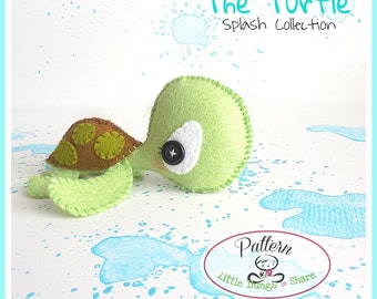 The Turtle PDF pattern-Sea animal toy-DIY-Nursery decor-Instant download-Baby's mobile toy-Cute Sea turtle toy-Felt turtle-Sea creatures