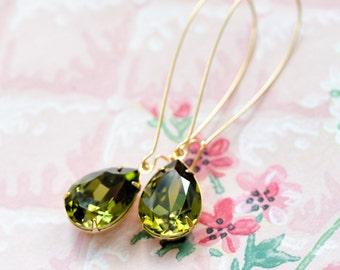 Khaki Green Long Dangle Earrings, Old Hollywood Jewelry Bridal Jewelry Gold Earrings Retro Jewelry, Vintage Style Jewelry, Sparkly Earrings