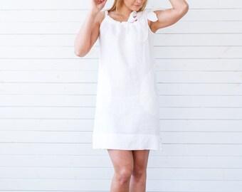 Linen dress, Linen summer dress, White flax summer tunic, White linen summer dress, Flax summer dress, Linen dress with a bow, Flax dress