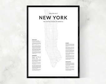 New York map print, Map Wall Art, New York map wall art, New York wall art, New York poster, New York map poster, Black and White print