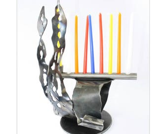 "Unique Hanukkah, Jewish Holidays, Metal Art, L13""xW8""xH6"", Judaica, Artistic welding, Jewish gifts, Chanukah, Home decor, Hanukkah Menorah"