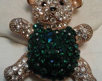 Signed Roman Green and Crystal Rhinestone Teddy Bear Pin