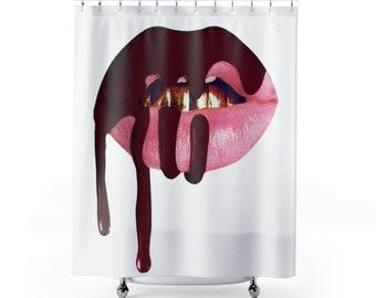 CUSTOM CURTAIN Bathroom Decor Dripping Lips Sexy Shower Curtain Bath Decor  Fashion Shower Curtains Teen Gift