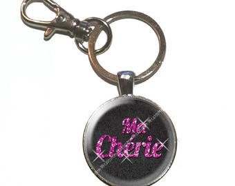 Darling glass cabochon keychain
