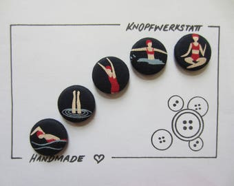 5 fabric buttons 23 mm, buttons, children buttons, buttons, buttons, fabric buttons, button, buttons, sewing button, craft button, Badedame, swimming,