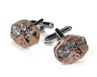 Steampunk Cufflinks, Mens Cufflinks Vintage BENRUS ROSE GOLD Cuff Links Wedding Anniversary Groom Fiancee Cufflinks - Jewelry by edmdesigns