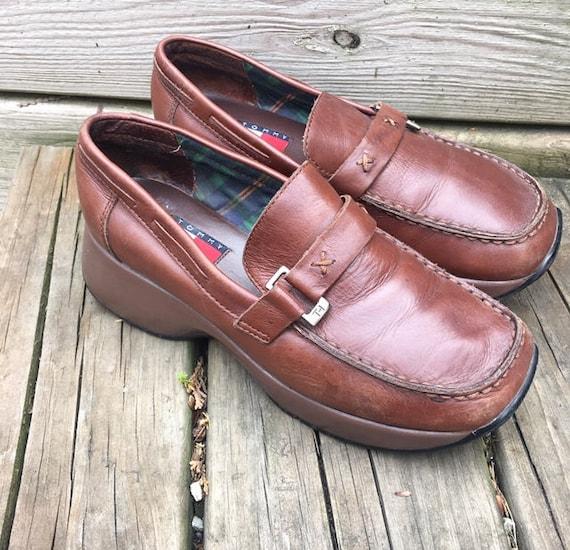 Size Women's Brown Shoes Shoes Tommy Loafers Shoes Platform Tommy 7 Leather 90s Vintage Hilfiger 90s Hilfiger Platform 90s Aaxn6U