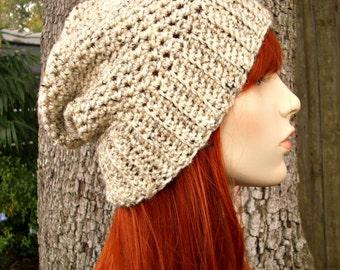 Oatmeal Crochet Hat Oatmeal Womens Hat - Yorkshire Hat Oatmeal Slouchy Hat - Oatmeal Hat Oatmeal Beanie Womens Accessories - READY TO SHIP