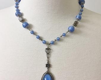 Vintage Czech Art Nouveau Blue Glass & Silver Tone Filigree Necklace Pendant