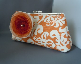 Caramel and Ivory/Beige Linen Wedding Clutch, Bridal Clutch, Mothers of the Bride, Groom Wedding Clutch