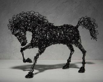 Horse sculpture,  Black horse, Gift mom, Metal Sculpture, Gift mom, Contemporary Decor, birthday gift, steampunk decor, Valentine's Day gift