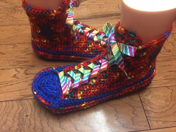 converse slippers Crocheted Shoe shoes house 9 rainbow converse high WOmens top 172 Tennis converse high Sneaker tops 7 slippers Slippers 8qAI4q