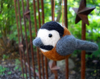 Felted Bird Ornament - Needle Felted Animal Ornament - Wool Bird