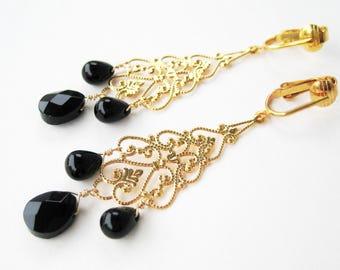 Black and Gold Clipon Earrings, Black Glass Teardrops, Gold Filigree Long Drop Dangle Clip On Earrings for Non Pierced Ears, Janet Gold