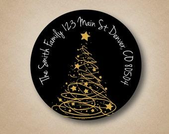 Gold Tree Black Address Labels Custom Christmas Address Labels Round Holiday Labels Personalized Return Address Label Stickers Modern