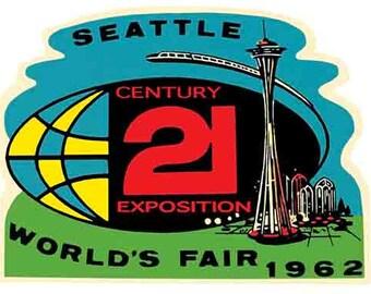 Vintage Style Seattle Worlds Fair 1962  World's    Travel Decal sticker