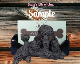 Black Poodle Dog Business Card /Cell Phone / Post It Notes Holder OOAK Sculpture by Sally's Bits of Clay