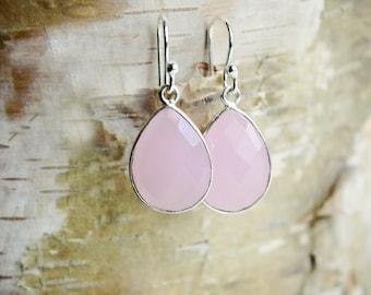 Rose Quartz Earrings Sterling Silver Gemstone Earrings Rose Quartz Jewelry Drop Earrings Pink Stone Earrings Dangle Earrings Birthday Gift