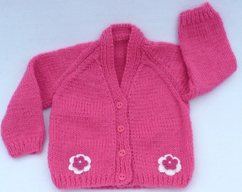 Hand knitted baby clothes. Pink baby cardigan to fit 3 to 6 months. Knit baby sweater. baby girl clothes, baby shower gift, baby girl gift