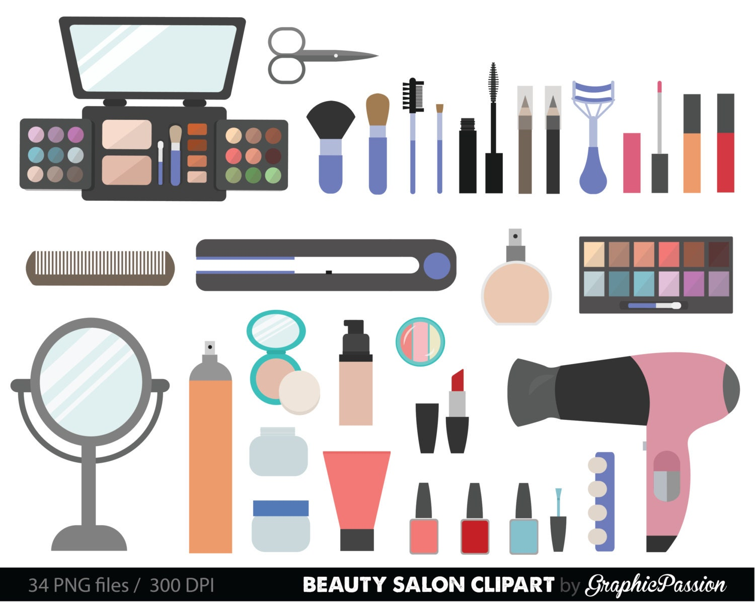 Beauty Collection Digital Clipart Cosmetic Girly