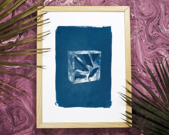3d Screen Block Brick, Cyanotype Print on Watercolor Paper, Breezeblock, Mid Century Modern, 50s Architecture, Art Deco, Art Prints 2018