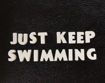 """Vintage White Ceramic Push Pins """"JUST KEEP SWIMMING"""" - Bulletin Board Decor, Altered Art Supply, and more"""