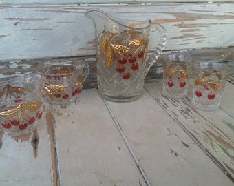 Cherry + Cable 19th c. Glass Drink Ware Set by Northwood - Collectible Art Glass + Barware, Cherry Themed Art Glass, Antique Drink Pitcher