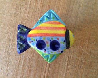 Ceramic Fish Knob, Fish Drawer Pull, Colorful Fish Knob, Nautical Knob, Beach House Knob, Furniture Knob, Cabinet Knob Pull