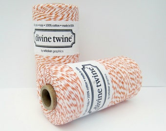 Orange Divine Twine- full spool, 240 yards, orange and white, cotton string, bakers twine