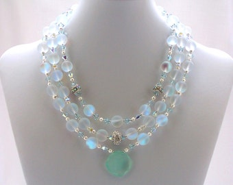 Matte Crystal Necklace Multi Strand Swarovski Jewelry Chalcedony GIFT IDEAS Shell Jewelry Fashion Wear Bridal Jewellery Sea Green Blue White