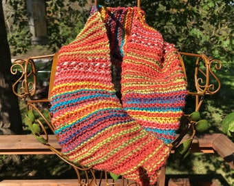 Hand-Knit Vertically Striped Cowl