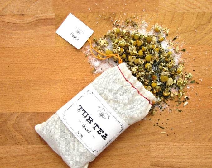 Unwind Tub Tea, with Chamomile Tea, Mint Tea & Epsom Salt Soak / gift for the bath lover