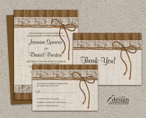 Wedding Invitations With Burlap: DIY Printable Rustic Wedding Invitation Sets Burlap And Lace