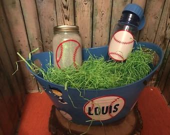 Baseball Gift Basket, Baseball Easter Basket, Custom Gift Basket, Baseball Gift Set, Personalized, Baseball, Baseball Jar Nightlight, Kids