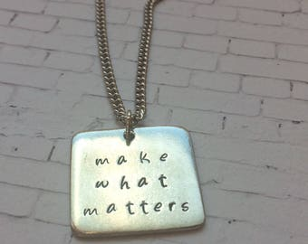 Pink Box Purpose Campaign | Make What Matters Necklace | Hand Stamped Necklace | Personalized Necklace | Customizable | PRAYMOHR Designs