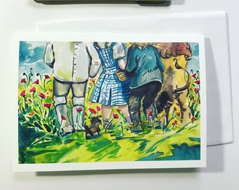 Wizard of Oz, Poppy field, 5x7 card, Ready to Ship greeting card