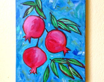 Pomegranate Wall Art, Original Painting, Painting on Canvas, 8X10 Art, Jewish Art, Jewish Holidays Gift, Home Decor, Judaica Artwork, Blue