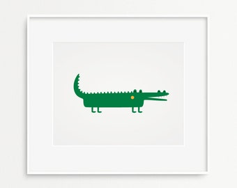 "Alligator printable wall art-  Kids room decor- Nursery art- Pdf+Jpeg- 8""x10""- INSTANT DOWNLOAD (AP-012)"