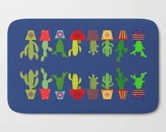 Cactus bath mat-Cacto bathroom decor-Cacti bath mat-Succulent bathroom-Cool kids bathroom-Plants bath mat-Colourful-Modern bathroom decor