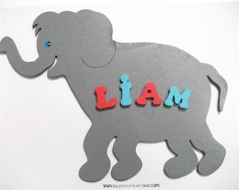 name wooden elephant child's bedroom door plaque