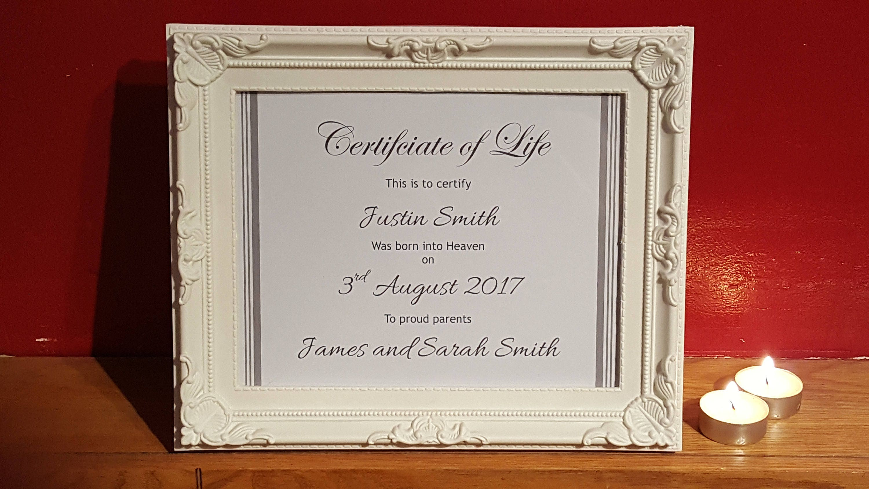 Unique personalised certificate of life framed or unframed zoom aiddatafo Choice Image