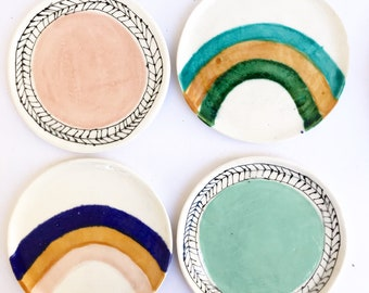 "Handbuilt 5"" Round Rainbow Ceramic Dish Clay Dish"